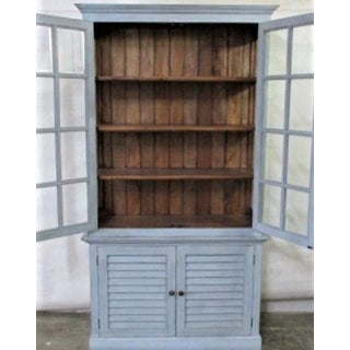 China Cabinet Hutch Bookcase Display Case Light Blue and Wood Interior Preview