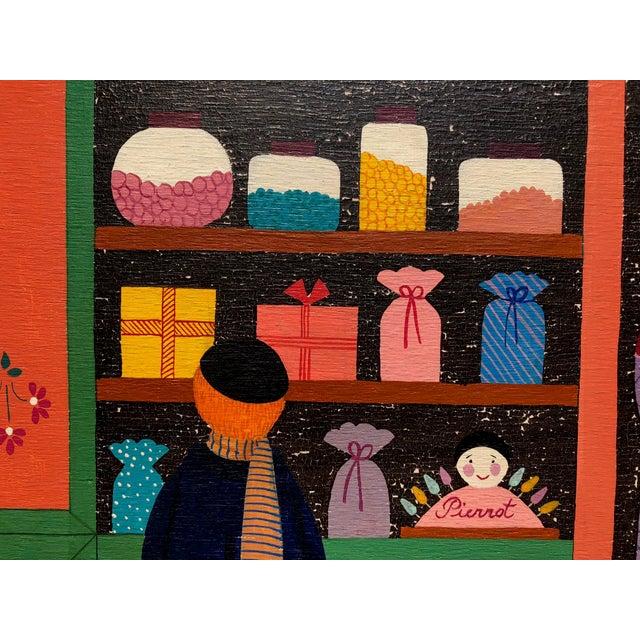 Boho Chic Mid-Century Painting - La Marchande De Bonbons by Dominique LeFranc 1979 For Sale - Image 3 of 10