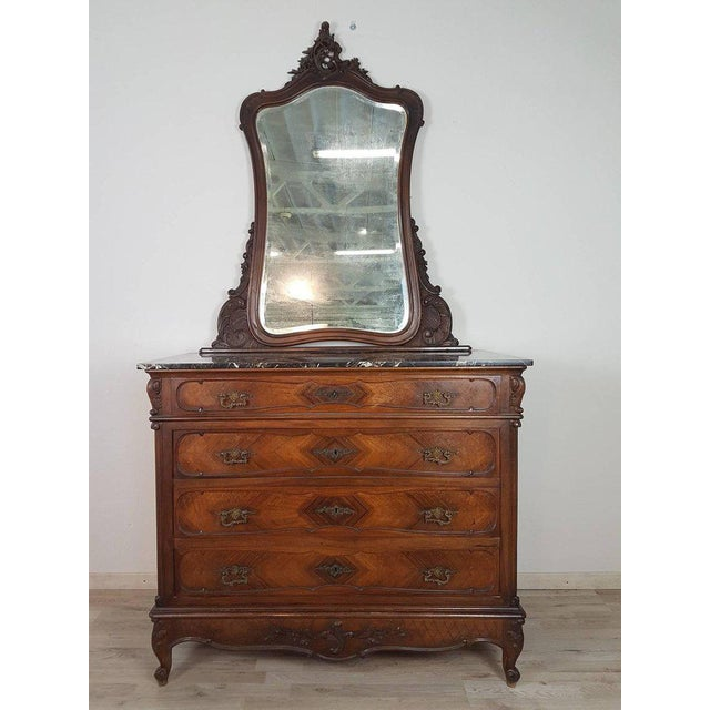 19th Century Italian Louis XV Rococò Style Wood Carved Bedroom Set For Sale - Image 6 of 13