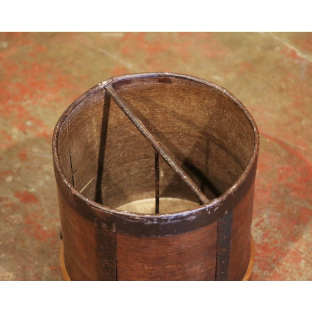 19th Century French Walnut and Iron Grain Measure Bucket or Waste Basket For Sale - Image 4 of 10