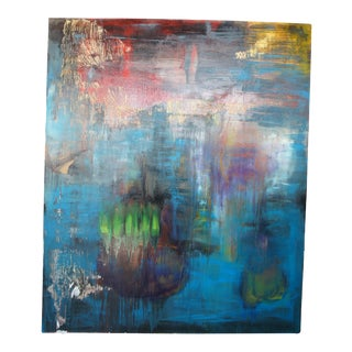 """1993 Mary Jones """"Crolla"""" Abstract Blue Expressionism Oil on Canvas 84"""" For Sale"""
