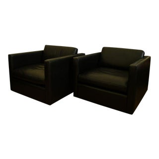 Pair of Leather Armchairs by Charles Pfister for Knoll For Sale