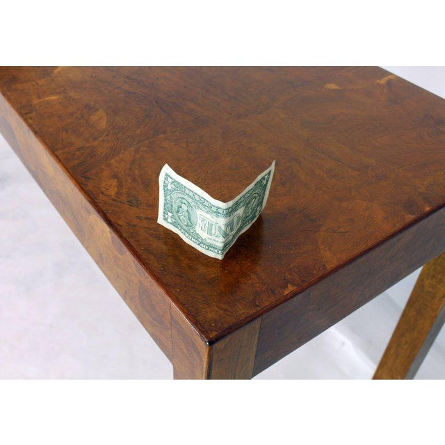 1970s Italian Burl Wood Patch Veneer Work Console Sofa Table For Sale - Image 6 of 14