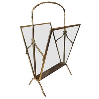 1940's Italian Gio Ponti Inspired Brass and Glass Magazine Rack For Sale