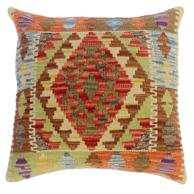 "Classie Lime Green/Brown Hand-Woven Kilim Throw Pillow(18""x18"") For Sale"