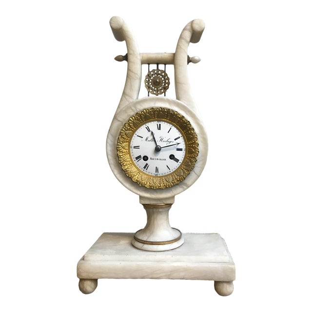 Antique French Neoclassical White Marble and Mercury Gilded Bronze Lyre Pendulum Clock For Sale