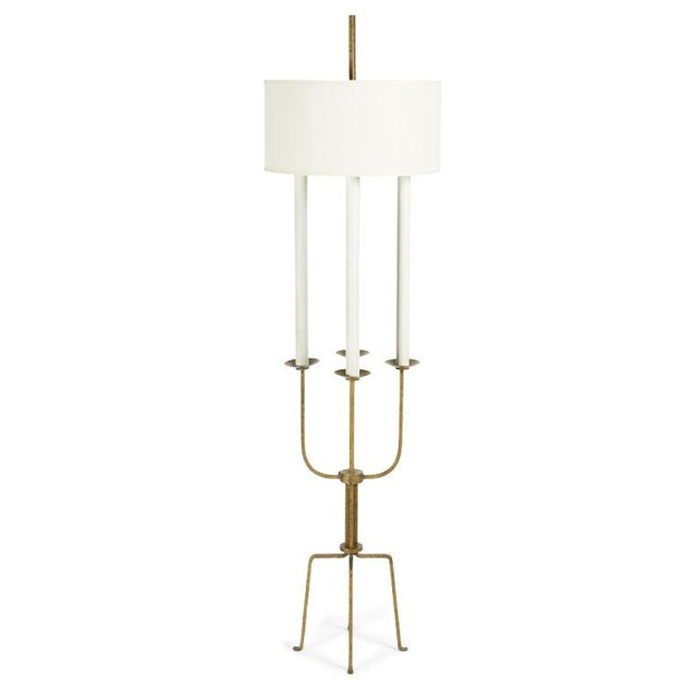 Gilt Wrought Iron Candelabra Floor Lamp by Tommi Parzinger For Sale - Image 9 of 9