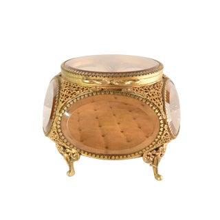 1940s Brass Filigree Ormolu Jewelry Casket For Sale