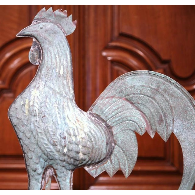 Country French Tole Rooster Weathervane For Sale - Image 3 of 7
