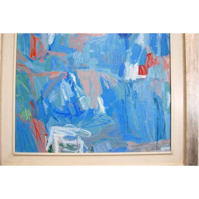 Blue Abstract Size: 32x28 framed 45x41 A very nice abstract painting by Calamassi Alessandro Italian, a self-thought...