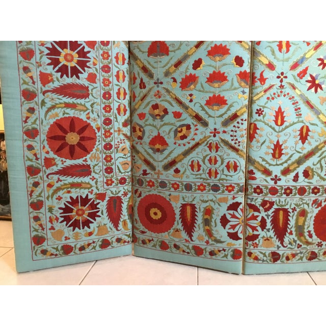 Asian Vintage Hand Embroidery Suzani Screen For Sale - Image 3 of 13