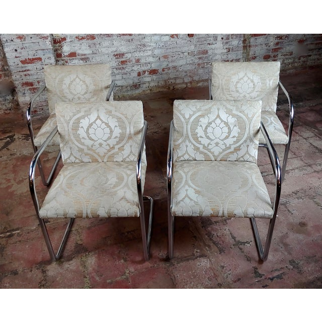 Mies Van Der Rohe Vintage Chrome Arm Chairs - Set of 4 For Sale - Image 9 of 9