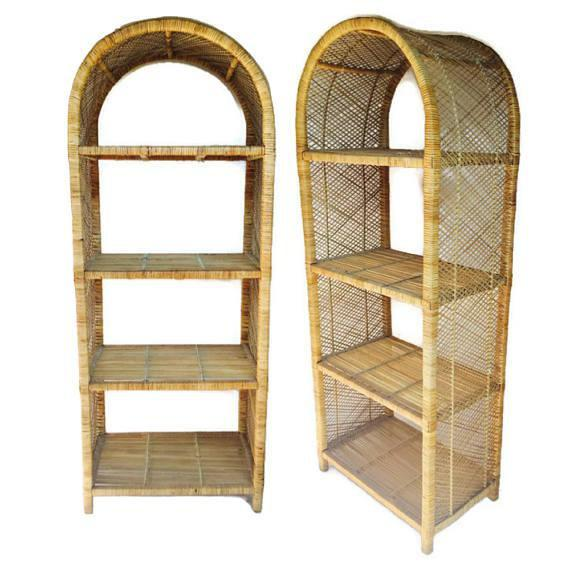 Wood 1970s Vintage Rattan Etagere Arched Bookcases - A Pair For Sale - Image 7 of 12