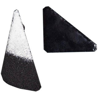 Michel McNabb for Basha Gold Black and White Enamel Triangle Earrings For Sale
