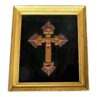 Large Tramp Art Style Framed Cross For Sale