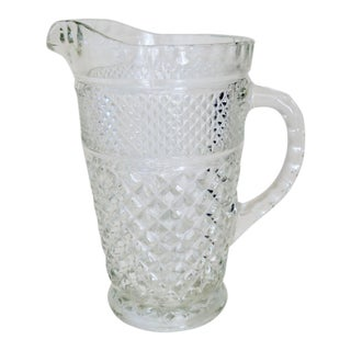 Vintage Anchor Hocking Wexford Clear Glass Crystal Pitcher For Sale