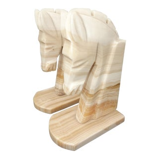 Vintage Marble Horse Head Bookends For Sale