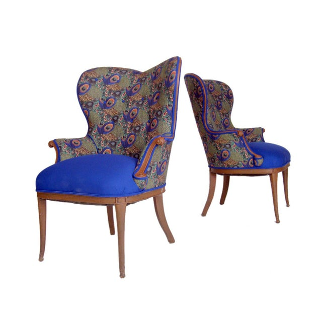 Victorian Peacock Wing Chairs - A Pair - Image 2 of 5