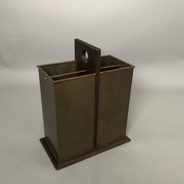Brass and Wood Umbrella Stand with decorative handle and 4 interior rectangular compartments. Made in Italy on base.