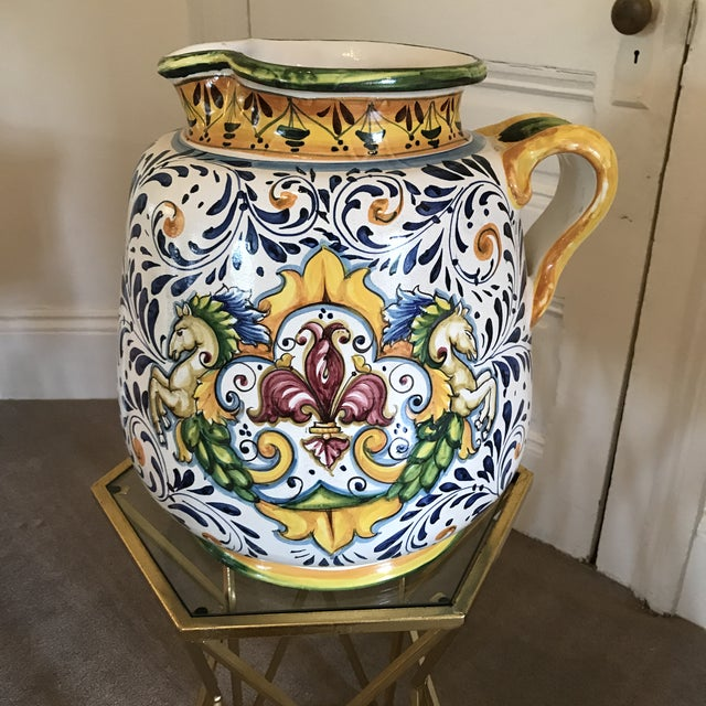 Blue Blue and Yellow Hand-Painted Italian Ceramic Vessel For Sale - Image 8 of 8