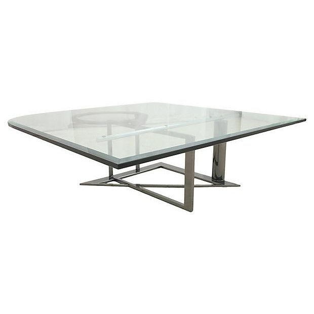 Modernist Glass & Chrome Coffee Table - Image 3 of 6
