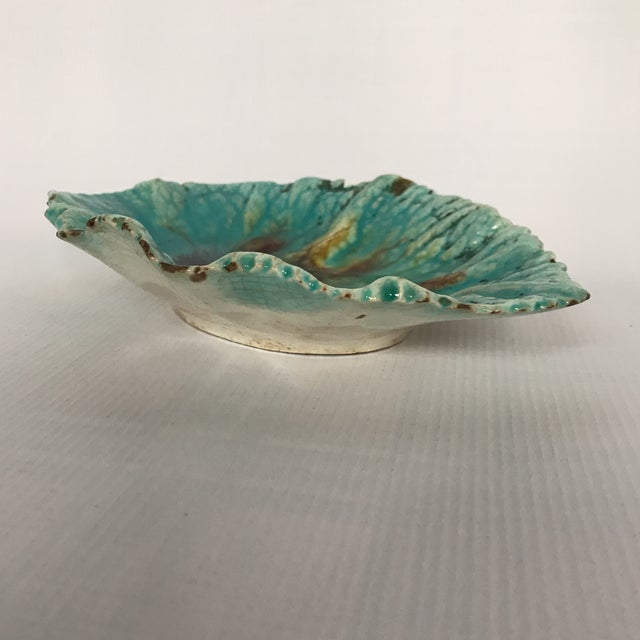 Majolica Begonia Leaf Plate For Sale - Image 5 of 7