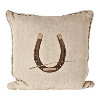 Horse Shoe Linen Equestrian Pillow For Sale
