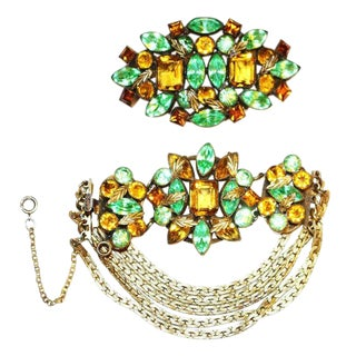 C1930s Czech Jeweled Bracelet & Brooch Set For Sale