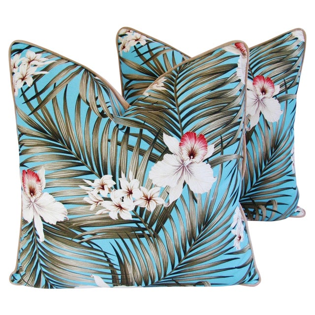 Custom Tropical Palm & Orchid Pillows - A Pair - Image 1 of 11