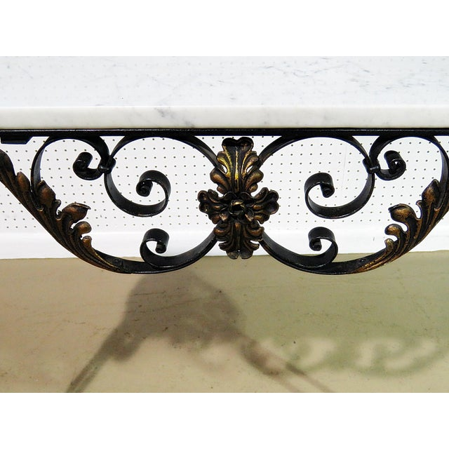 Wrought Iron Marble Top Console For Sale In Philadelphia - Image 6 of 8