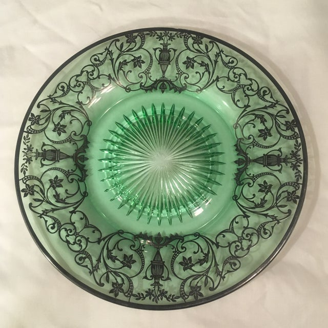 Beautiful antique green pressed glass plate with sterling silver overlay - silver is marked sterling. Plate has some...