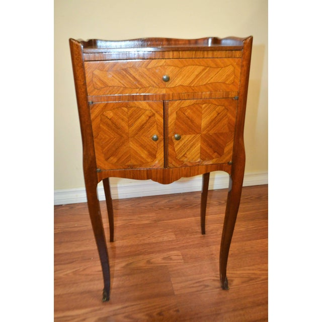 Louis XV Transitional Inlay Wood Side Tables - A Pair For Sale - Image 3 of 10