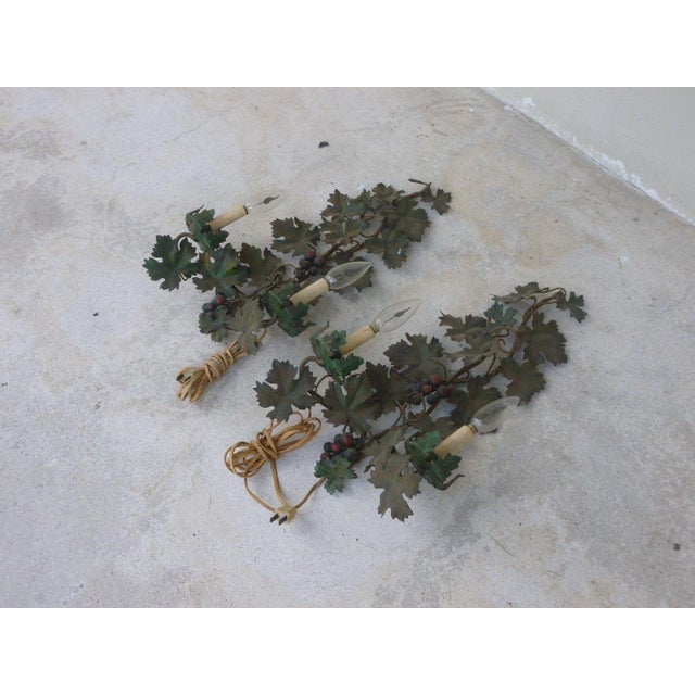 Mid Century Italian Tole Sconces of Grapes and Vines - a Pair For Sale - Image 4 of 8