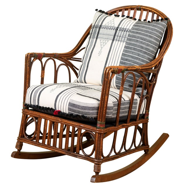White 1920s Bent Wood Rocking Chair With Injiri Upholstery For Sale - Image 8 of 8