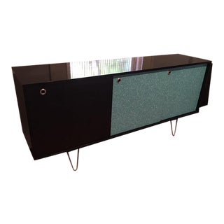 1990s Mid-Century Modern Aqua and Black Buffet For Sale