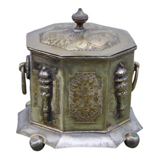 Brass Footed Jar W/ Ornate Engravings For Sale