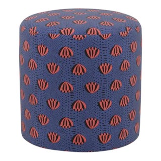 Drum Ottoman in Blue Lotus For Sale