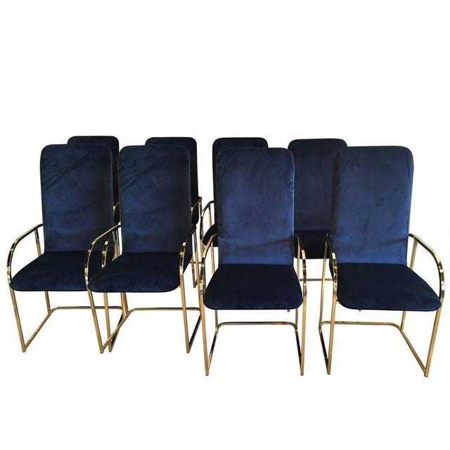 Blue DIA Brass Navy Velvet Dining Arm Chairs - Set of 12 For Sale - Image 8 of 9