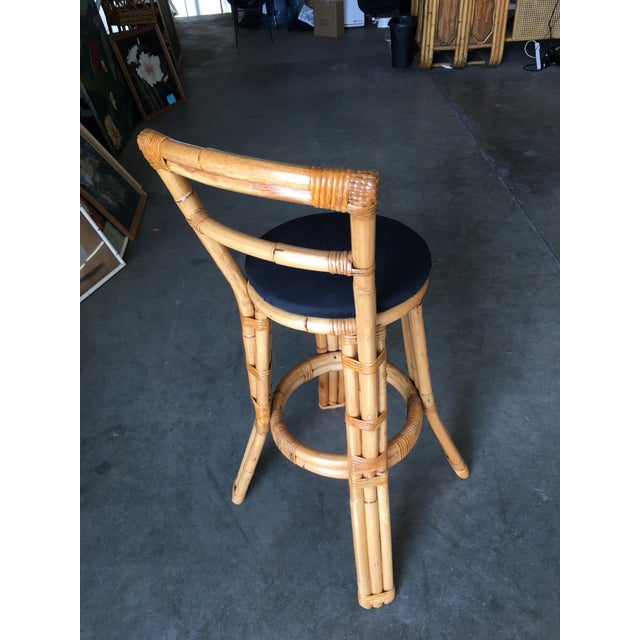Bamboo Restored Three Strand Rattan Bar Stool W/ Pole Rattan Back, Pair For Sale - Image 7 of 8