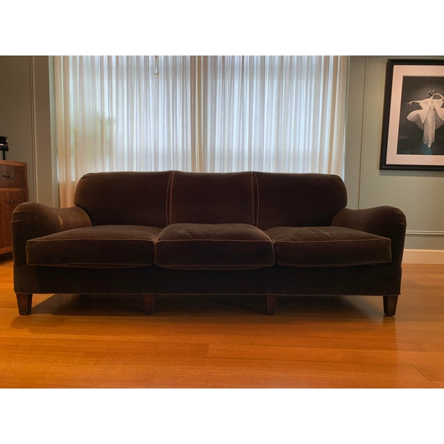 """Transitional Three Seat Sofa in Brown Mohair Two Available Schumacher Fabric #51531 """"Bark"""" No Skirt w Tapered legs 50/50..."""