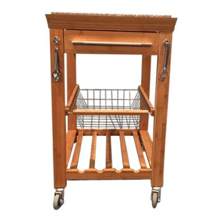 Bamboo Rolling Kitchen Island Wine Rack For Sale