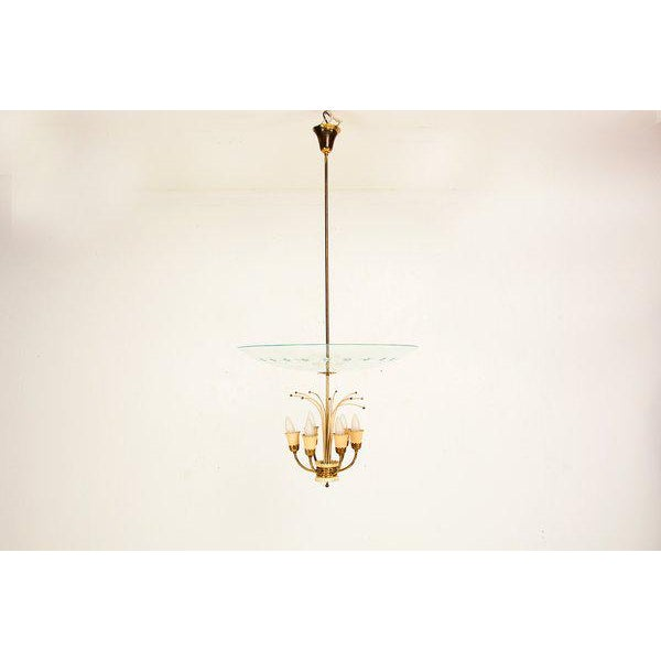 1950s Italian Chandelier After Fontana Arte For Sale - Image 5 of 9