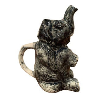 19th Century French Hand Painted Barbotine Ceramic Elephant Pitcher For Sale