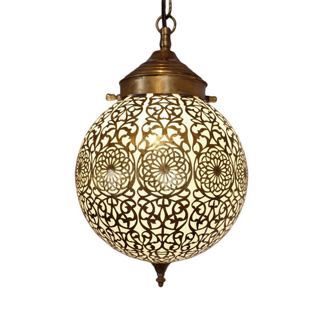 Mid 20th Century Vintage Brass & Frosted Globe Pendant For Sale - Image 5 of 5