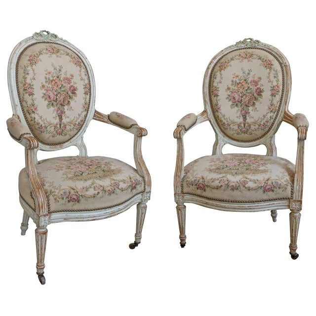 Pair of French 19th Century Louis XVI Style Armchairs in Petit Point Fabric - Image 11 of 11
