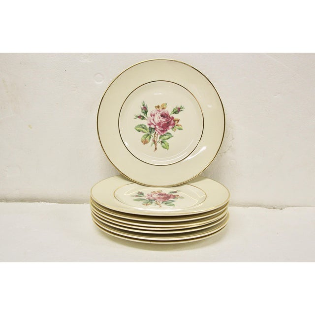 White Garden Rose China Plates, S/8 For Sale - Image 8 of 8