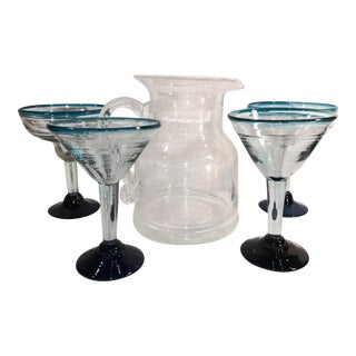 Mexican Hand Blown Glasses and Clear Pitcher Set - 5 Piece Set For Sale