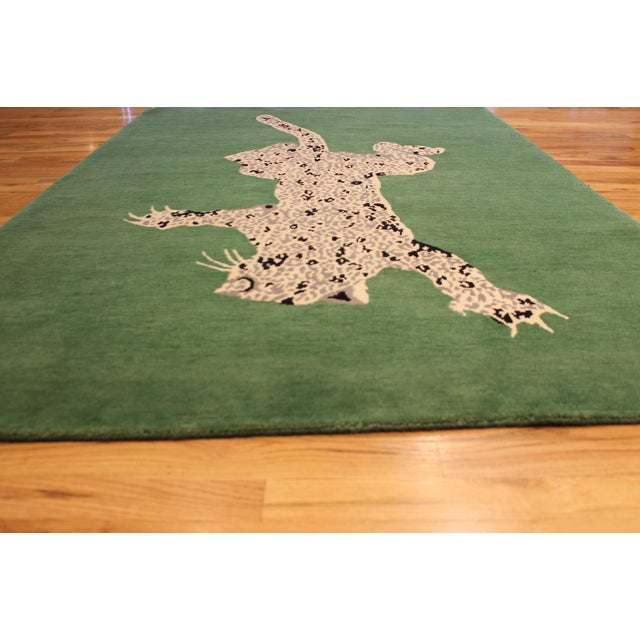 2020s Green Gabeh Fine Leopard Hand Knotted Rug For Sale - Image 5 of 8