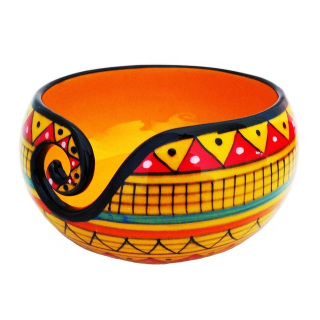 African Handcrafted Yellow Ceramic Knitting Yarn Bowl Holder For Sale - Image 6 of 6