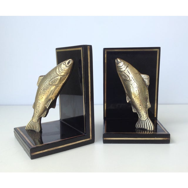 Brass Trout Fish & Wood Bookends - A Pair For Sale In West Palm - Image 6 of 11
